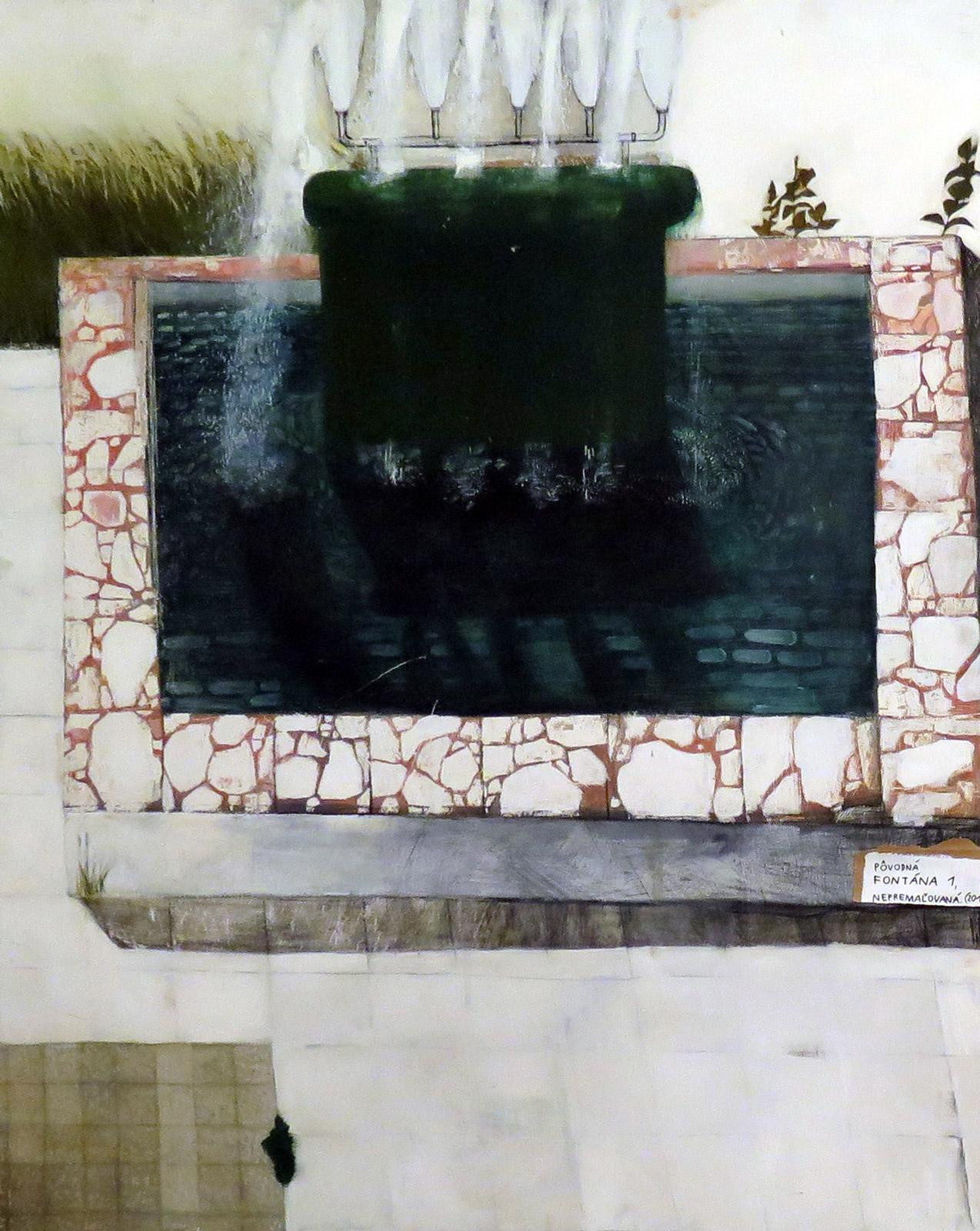 Fontána I.., 2011, olej, uhlík a latex na sololite, 170x137cm,
